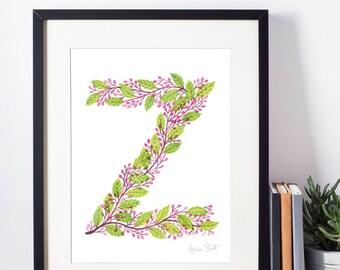 Leafy Letterform Z - A Watercolour Alphabet Series
