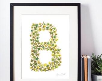 Leafy Letterform B - A Watercolour Alphabet Series