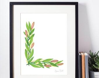 Leafy Letterform L - A Watercolour Alphabet Series