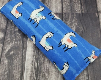 Reusable hot/cold pack.  Microwave heat pad. Rice and flax heating pad. Heat pack reusable.  Large heating pad.  Eye pillow. Heat pad. Llama