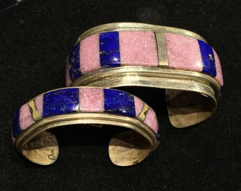 Matching Cuffs Inlay Cuff set Lepidolite calming Lapis Lazuli Brass Sterling Silver Denny Mercereau French lavender purple blue His & Hers