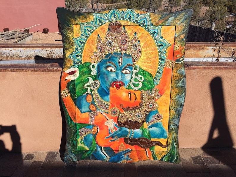 Yab Yum bejeweled Tantra painting jewelry assemblage Tibetan Nepal Buddha  Consort Thangka Tangka style Fine Art bejeweled Yoga sacred sex