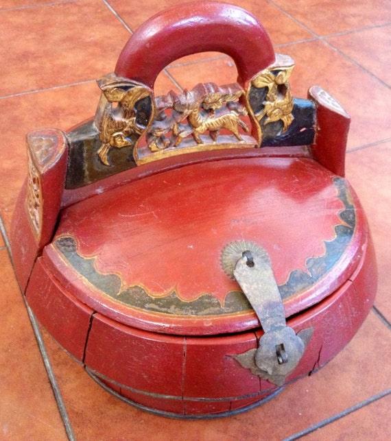 Asian Wedding Gift Baskets: Antique Chinese Wedding Basket Gift Box Container Red