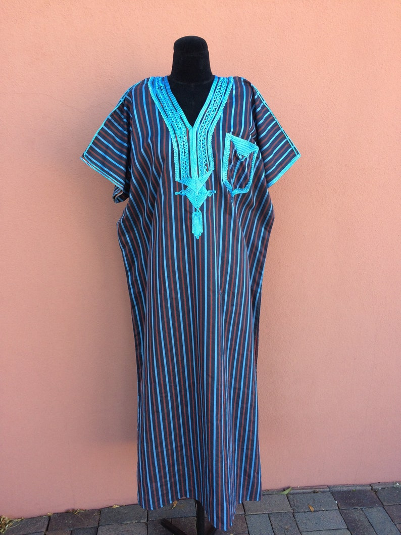 Vintage Moroccan kaftan caftan djellaba Striped blue red Unisex maxi dress cotton natural embroidered embroidery lounge Boho Chefchaouen