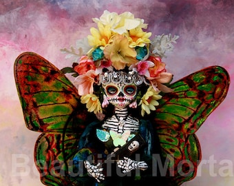 Beautiful Mortal Day of the Dead Butterfly Princess Doll Canon PRINT 554 Reproduction by Michael Brown