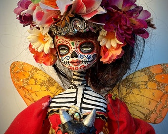 Beautiful Mortal Dia De Los Muertos Butterfly Doll canon PRINT 600 Reproduction by Michael brown