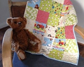 SOLD ** SOLD ** Handmade Patchwork Crib / Pram / Car Seat Baby Quilt Farm Themed