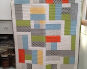 Handmade Baby Cot Quilt Retro Colours Unisex