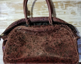 Beautiful genuine leather Crackle/resist dyed leather purse in deep berry wine, free shipping!