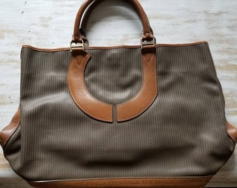 "Pristine ""NWOT"" Charles Jourdan large Actif Collection Paris Coated Canvas and Leather Handbag, Free Shipping !"