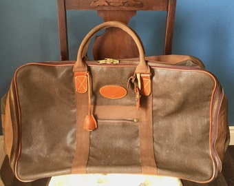 34cf38c981 Vintage Mulberry Mole and Cognac Scotchgrain Holdall Duffle Carry  All Flight Bag. 1980 s luggage FREE Shipping
