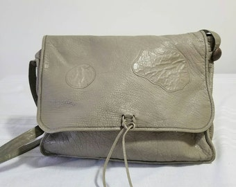 556474c01a55 Vintage Carlos Falchi Grey Buffalo leather purse or messenger bag