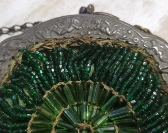 Art nouveau or Edwardian 1910's miniature beaded Purse with metal frame, extremely rare
