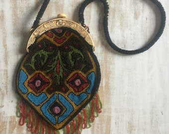 1920s Egyptian Revival beaded flapper purse. FREE SHIPPING!