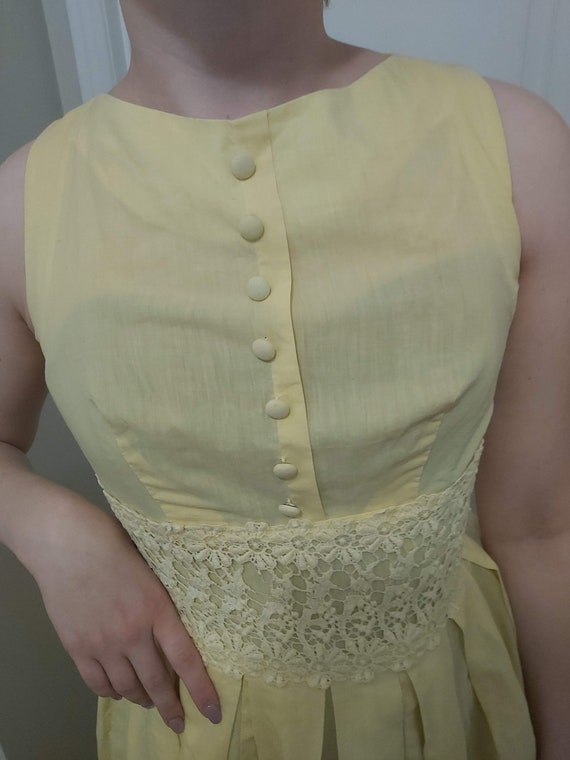 1950s Butter Yellow Day Dress with Lace