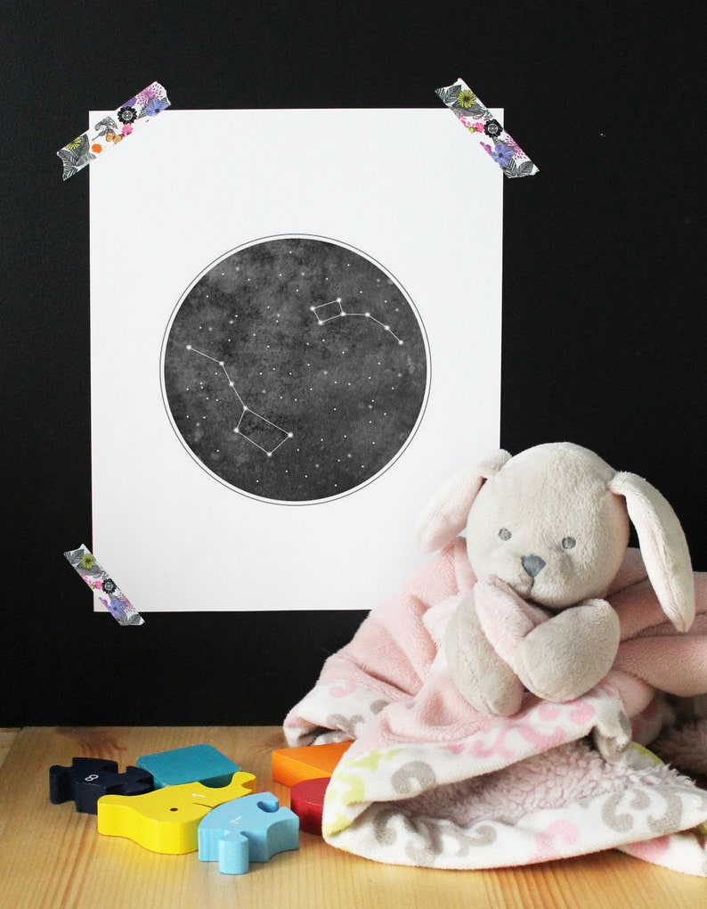 Paper poster constellation Big & small bear astronomy child image 0
