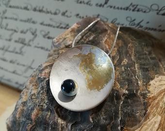 Round Silver , Gold and Murano Glass pendant