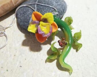 Orchid pendant  (Murano Glass)