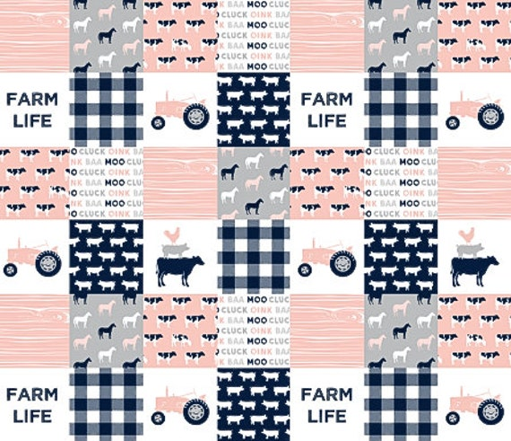 Coral Pink Grey Gray Crib Bedding Set Farm Baby Girl Quilt Cow Nursery Blanket Farm Crib Bedidng Cow Crib Bedding Baby Girl Quilt