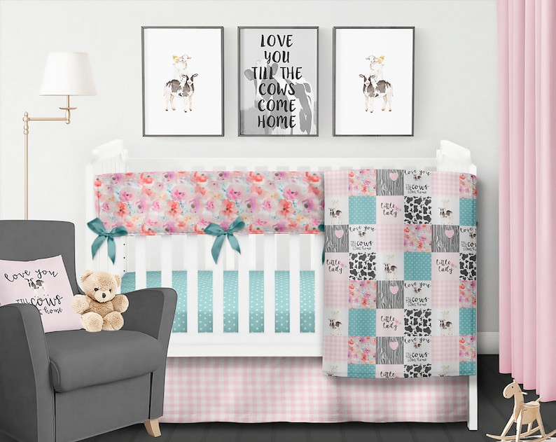 Farm Crib Bedding Set Baby Girl Quilt Cow Crib Bedding Farm Etsy