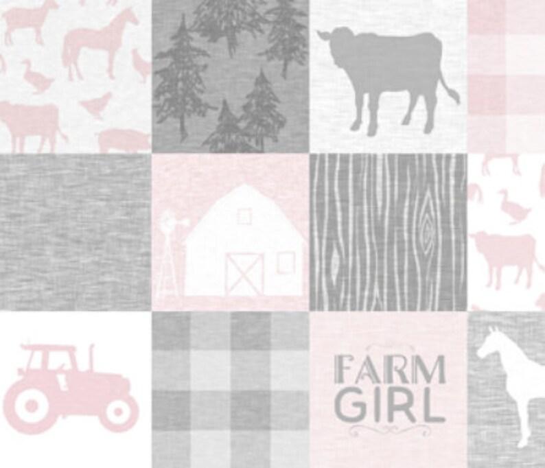 Baby Girl Blanket Tractor Baby Quilt Pink Farm Quilt Cow Baby Blanket Grey Gray Farm Quilt Baby Girl Quilt Horse Baby Blanket