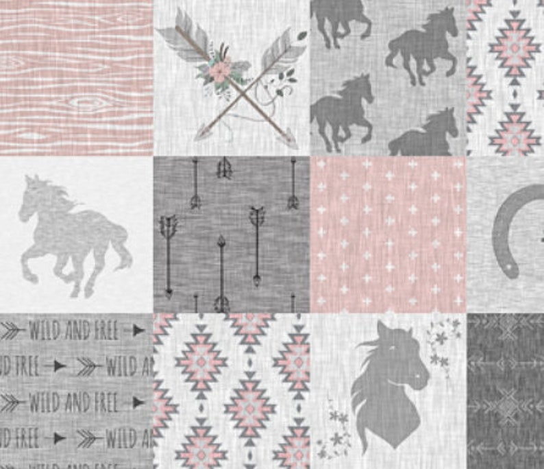 Pink Gray Horse Baby Blanket Minky Baby Blanket Boho Baby Quilt Western Patchwork Baby Quilt Girl Nursery Bedding Cowgirl Crib Quilt