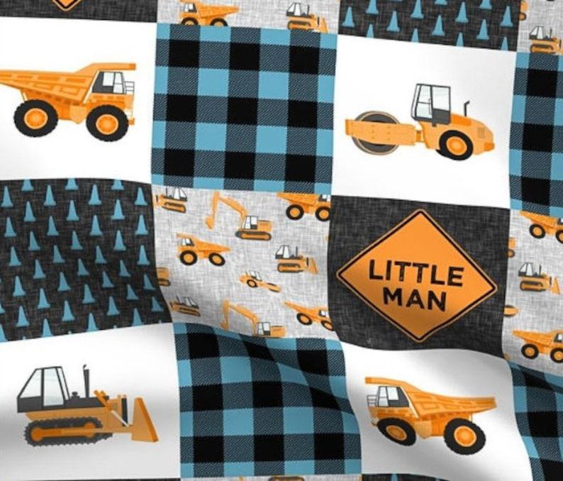 Baby Boy Blanket Dump Truck Baby Blanket Little Man Blanket Teal Blue Grey Gray Minky Baby Blanket Construction Vehicle Bedding