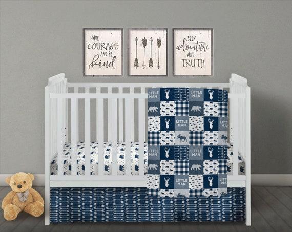 Nursery Bedding Sets Boy.Little Man Bedding Baby Boy Quilt Navy Crib Bedding Set Boy Crib Bedding Set Baby Boy Nursery Blanket Blue Plaid Arrow Moose Deer Bear
