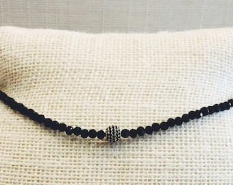 Black Choker with Gold Pave Ball