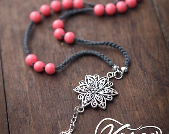 Long Pink Bohemian Necklace