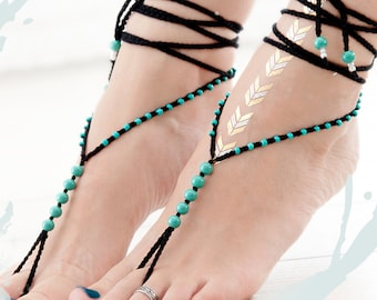 Black Turquoise Barefoot Sandals, Barefoot sandals, Black Barefoot Sandal, Pearl Barefoot shoes, anklet, Women Summer Jewelry 2017
