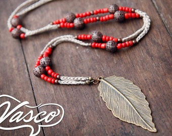 Brown Red Boho Necklace