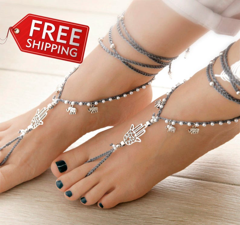 Hamsa Hand Barefoot Sandals Silver Barefoot Sandles Gray  191ebc37cf5f