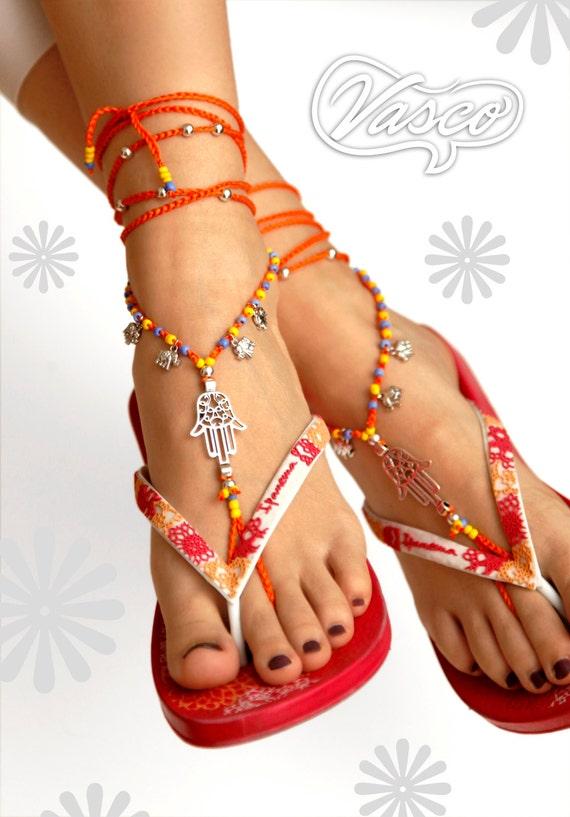 Boho Barfuß Sandale Häkeln Sie Gypsy Schuhe Bauchtanz Etsy