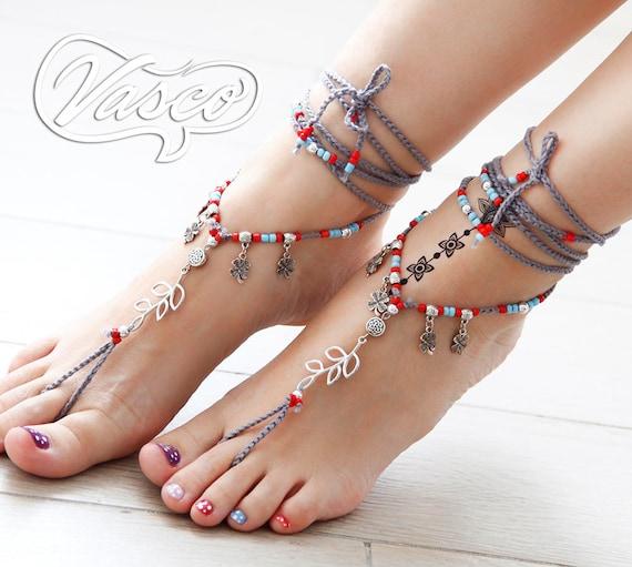 Bellydance Sandle Silver Barefoot Sandles Tibetan Silver Barefoot Sandals