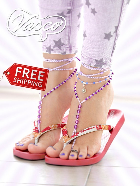 Purple Barefoot Sandals Boho Anklet Foot Jewelry Pink Bohemian sandals Beach Sandals Beach Wedding Gypsy Sandals Foot Thong