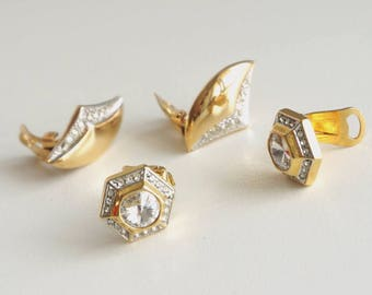 ae15bb217089 2 pairs Gold Tone Rhinestone Clips Earrings