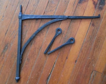 fireplace crane with pintles, custom made, hand forged by blacksmith
