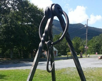 Tripod, Large / Heavy, blacksmith made, 6 foot long legs made of 5/8 square steel