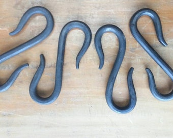 """Hooks, Set of 4, 4 inch """"S"""" hand forged by blacksmith, traditional oil/wax finish"""