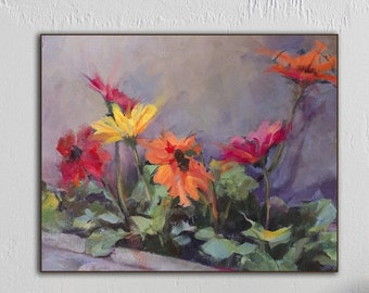 Impressionist Painting of Gerber Daises in a Planter