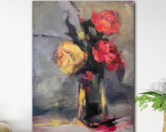 Small Floral with three roses in a glass vase