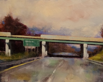 Impressionist Landscape of Bridge and Highway after the Rain