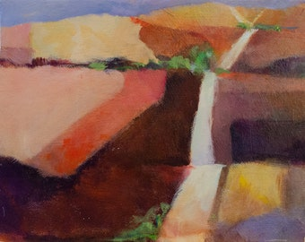 Mini Abstract Landscape with Pink Fields