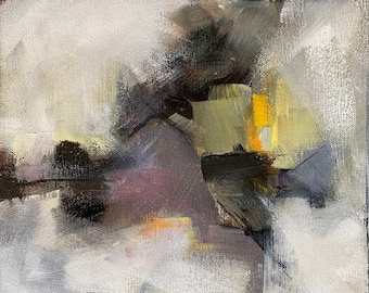 Small Abstract with Black, Gray, White, Yellow and muted purples