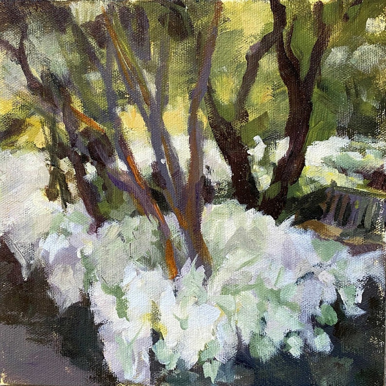 Impressionist Painting of White Caladiums in the Shade Unframed