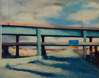 Impressionist Landscape of Bridge and Highway with Sun and Clouds