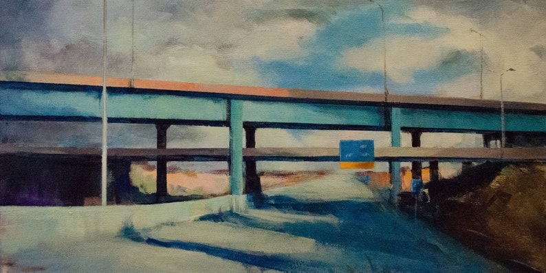 Impressionist Landscape of Bridge and Highway with Sun and image 0