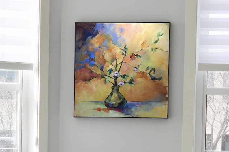 Abstract Painting of Crab Apple Branches in a Vase image 1