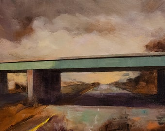 Impressionist Landscape of Bridge and Highway with stormy sky